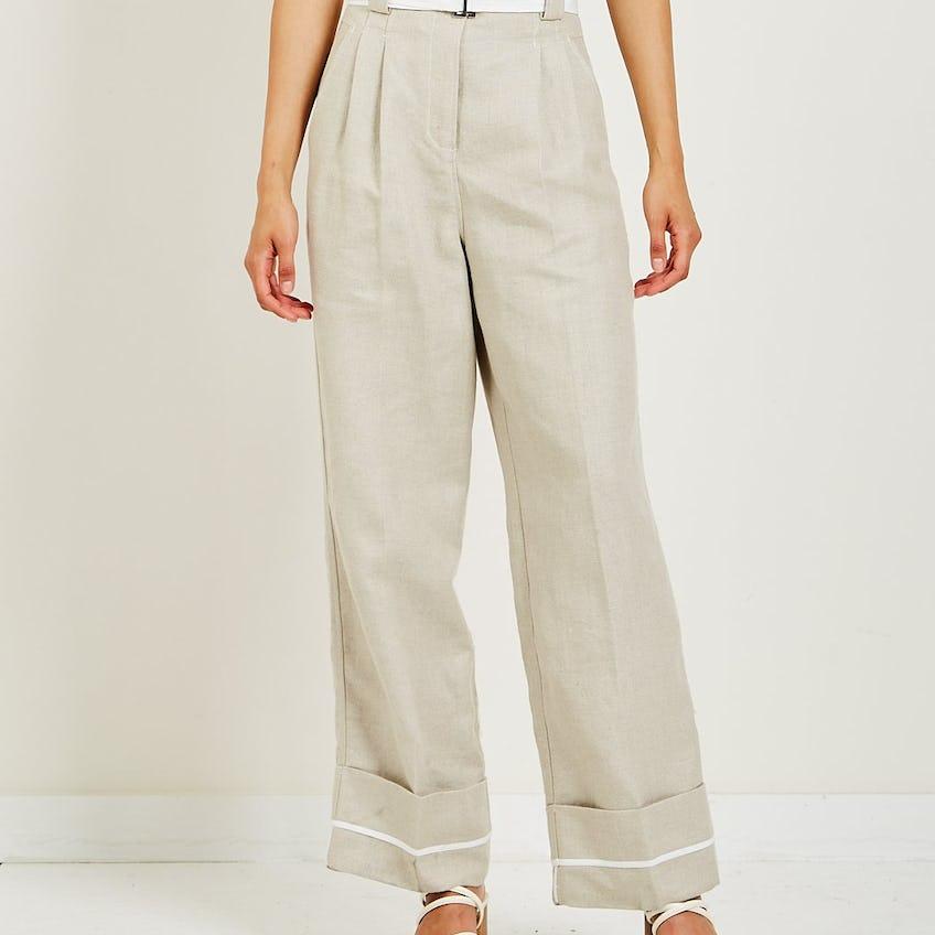Linen High-Waisted Pant 0