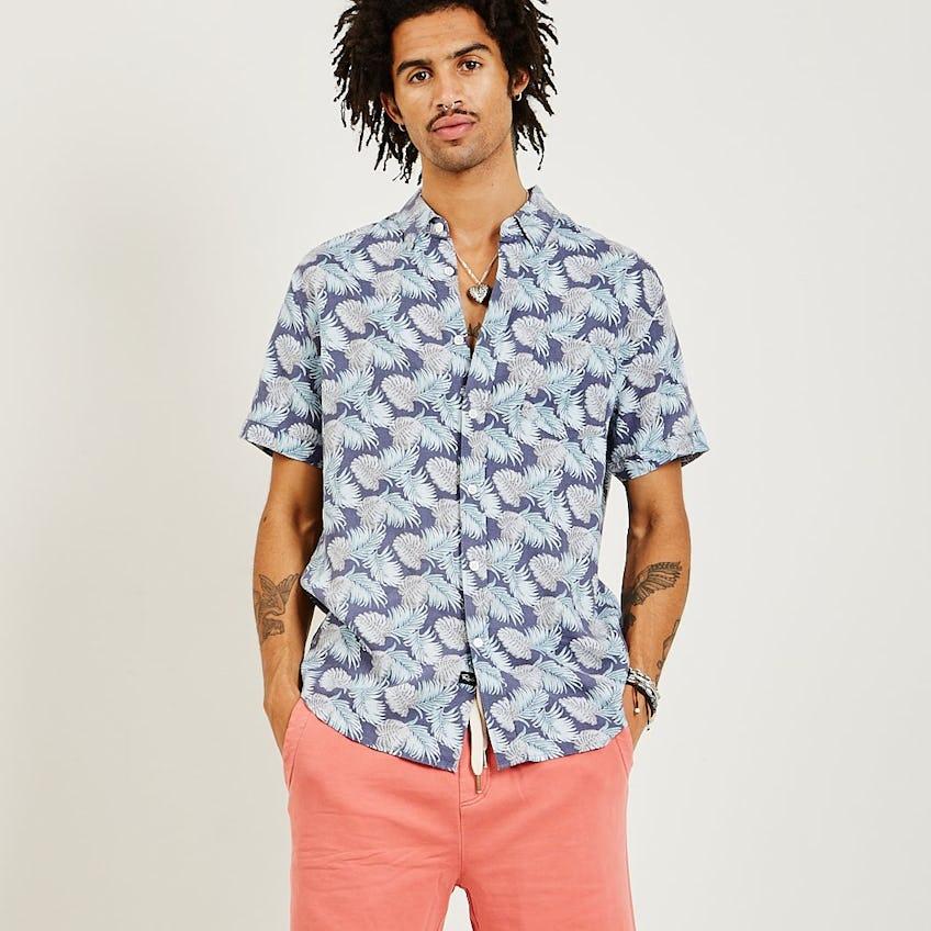 Carson Shirt Slate Aqua Palms 0