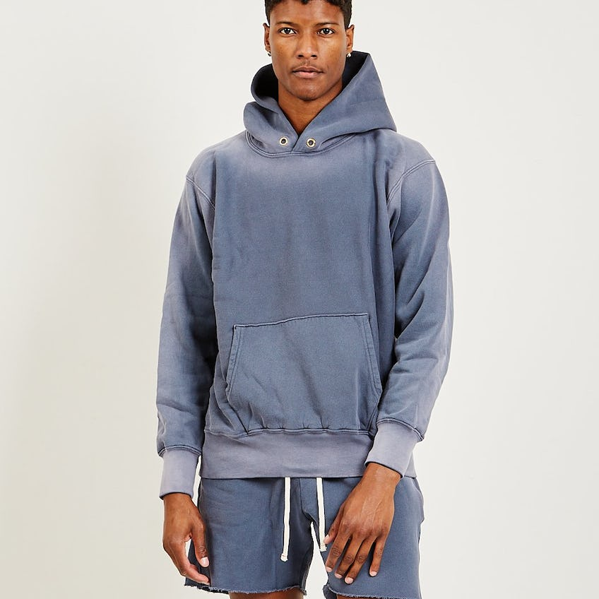 Cropped Hoodie Navy Iced Wash 0