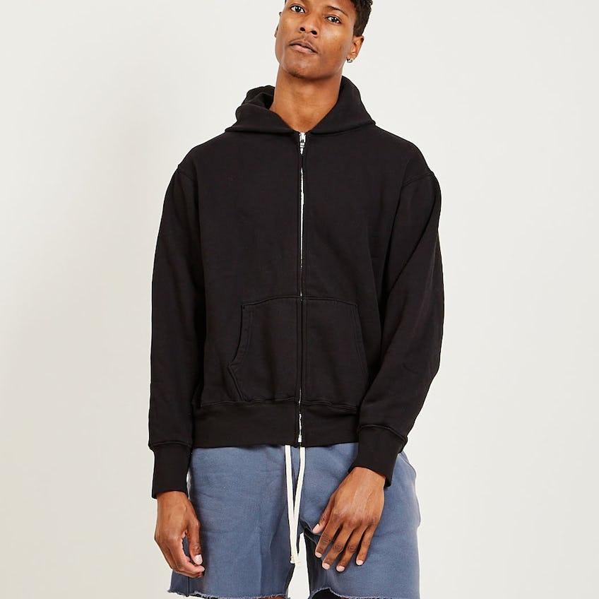 Cropped Zip Hoodie Jet Black 0