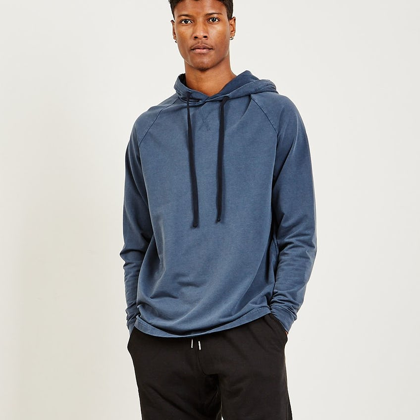 French Terry Hoodie Washed Navy 0
